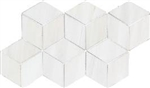 "3D Hexagon Mosaic Dolomite White Pol. (7"" X 12.6"") Sheet"